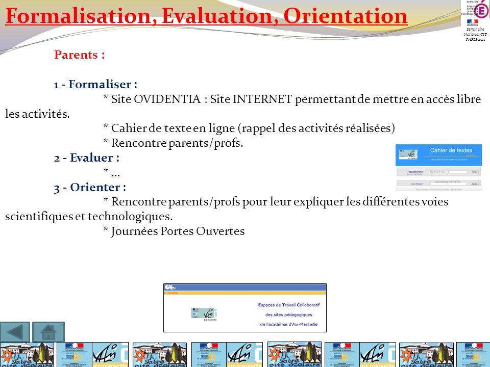 Séminaire National CIT PARIS 2011 Formalisation, Evaluation, Orientation Parents : 1 - Formaliser : * Site OVIDENTIA : Site INTERNET permettant de met
