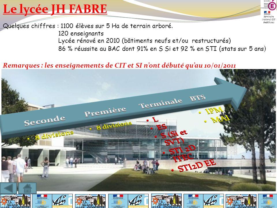 Le lycée JH FABRE Quelques chiffres : 1100 élèves sur 5 Ha de terrain arboré. 120 enseignants Lycée rénové en 2010 (bâtiments neufs et/ou restructurés