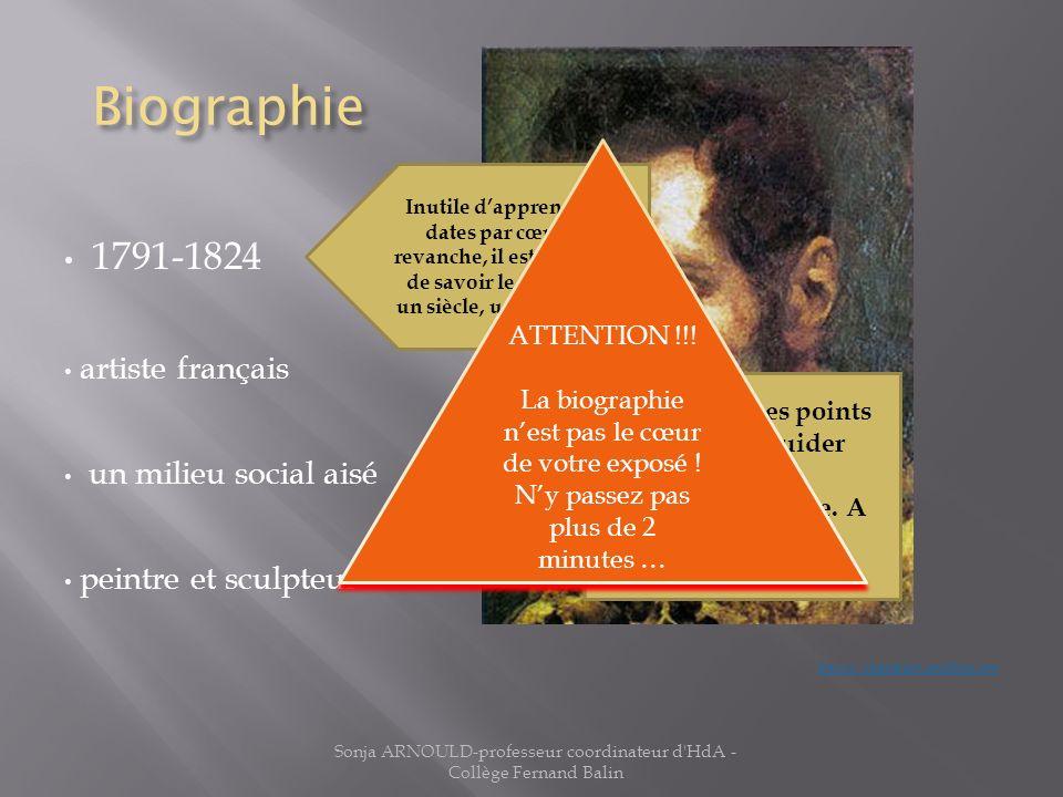 Biographie 1791-1824 artiste français un milieu social aisé peintre et sculpteur Source : elogedelart.canalblog.com Sonja ARNOULD-professeur coordinat
