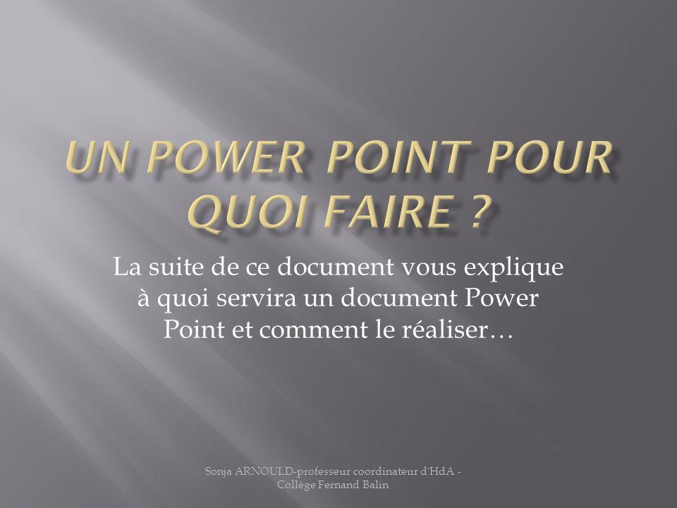 La suite de ce document vous explique à quoi servira un document Power Point et comment le réaliser…