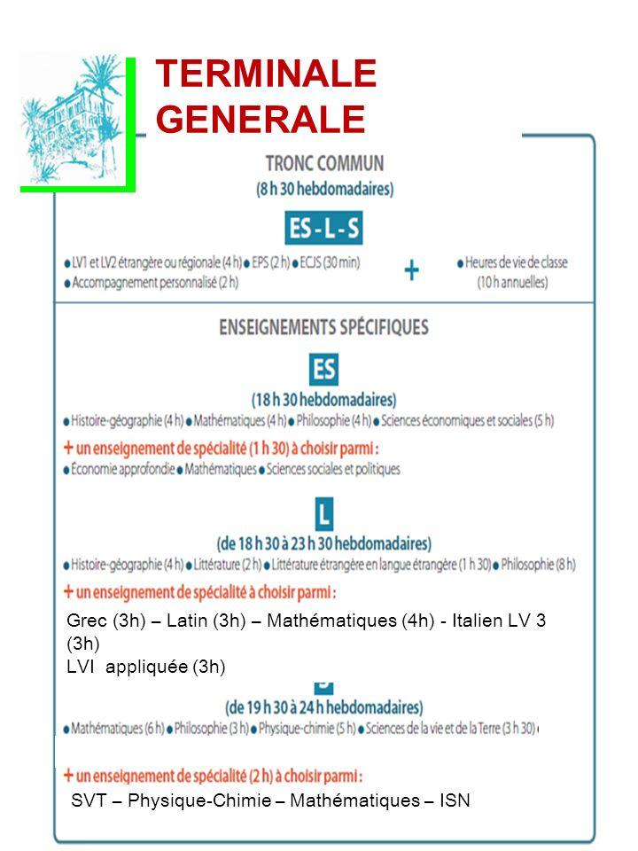 SVT – Physique-Chimie – Mathématiques – ISN Grec (3h) – Latin (3h) – Mathématiques (4h) - Italien LV 3 (3h) LVI appliquée (3h) TERMINALE GENERALE SVT