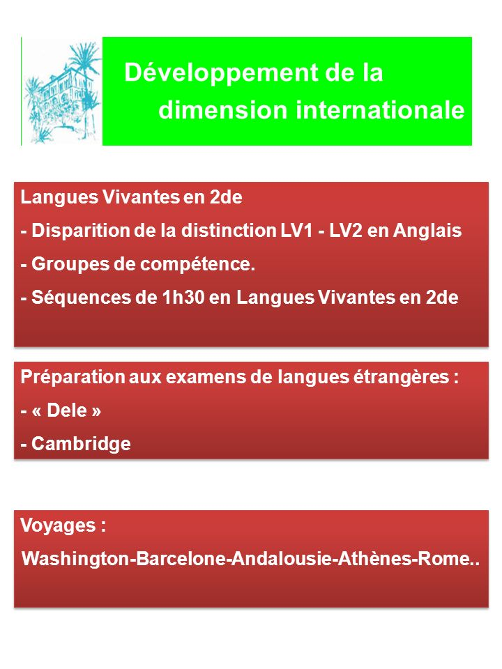 Développement de la dimension internationale Langues Vivantes en 2de - Disparition de la distinction LV1 - LV2 en Anglais - Groupes de compétence. - S