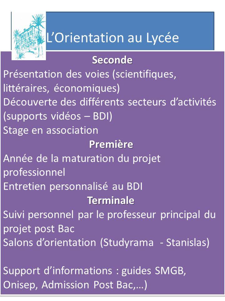 LOrientation au Lycée Seconde Présentation des voies (scientifiques, littéraires, économiques) Découverte des différents secteurs dactivités (supports