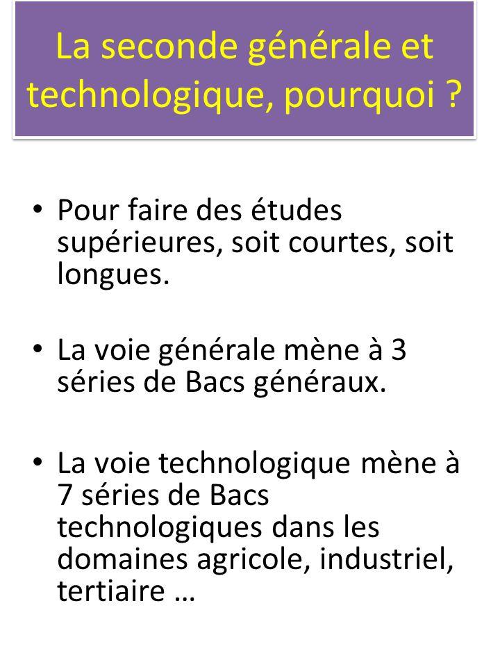 La seconde générale et technologique, pourquoi ? Pour faire des études supérieures, soit courtes, soit longues. La voie générale mène à 3 séries de Ba