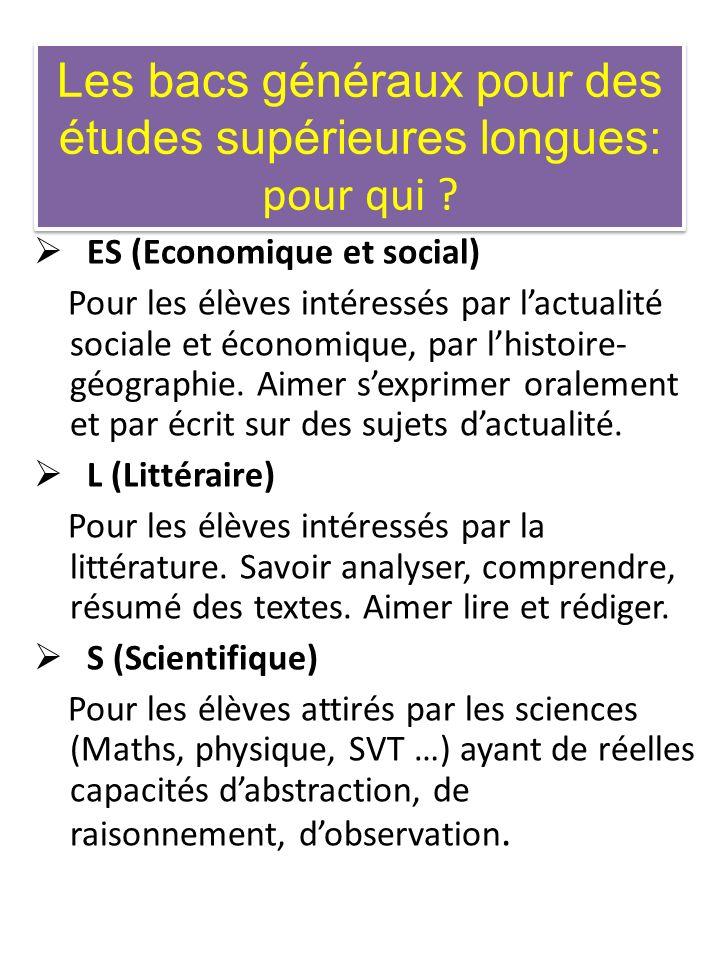 Les bacs généraux pour des études supérieures longues: pour qui ? ES (Economique et social) Pour les élèves intéressés par lactualité sociale et écono