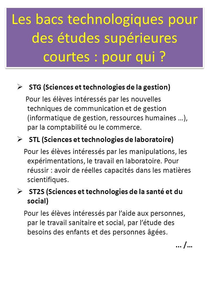 Les bacs technologiques pour des études supérieures courtes : pour qui ? STG (Sciences et technologies de la gestion) Pour les élèves intéressés par l