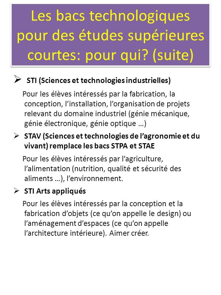 Les bacs technologiques pour des études supérieures courtes: pour qui? (suite) STI (Sciences et technologies industrielles) Pour les élèves intéressés