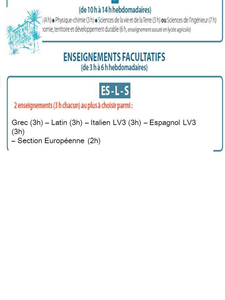 Grec (3h) – Latin (3h) – Italien LV3 (3h) – Espagnol LV3 (3h) – Section Européenne (2h)