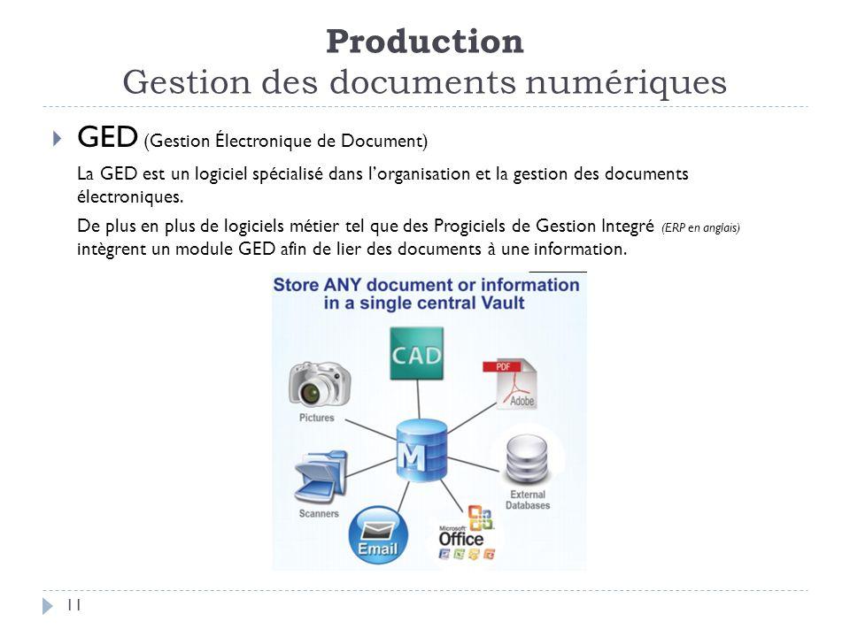 Production Gestion des documents numériques 11 GED (Gestion Électronique de Document) La GED est un logiciel spécialisé dans lorganisation et la gestion des documents électroniques.