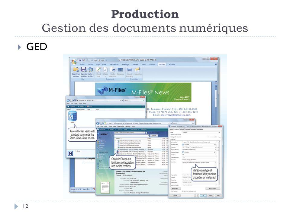 Production Gestion des documents numériques 12 GED