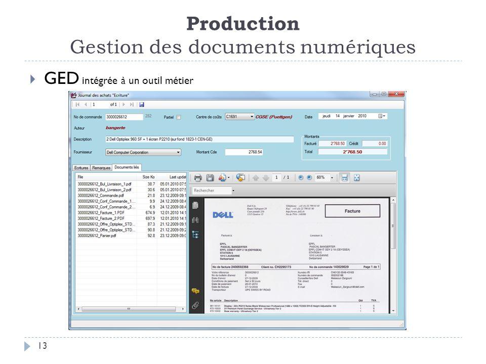 Production Gestion des documents numériques 13 GED intégrée à un outil métier