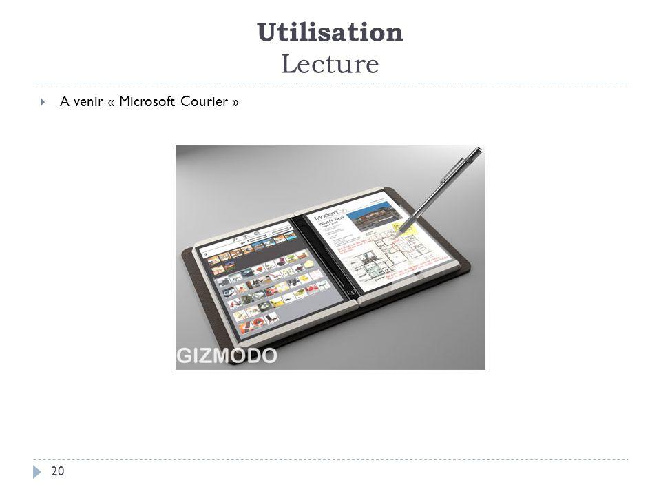 Utilisation Lecture 20 A venir « Microsoft Courier »