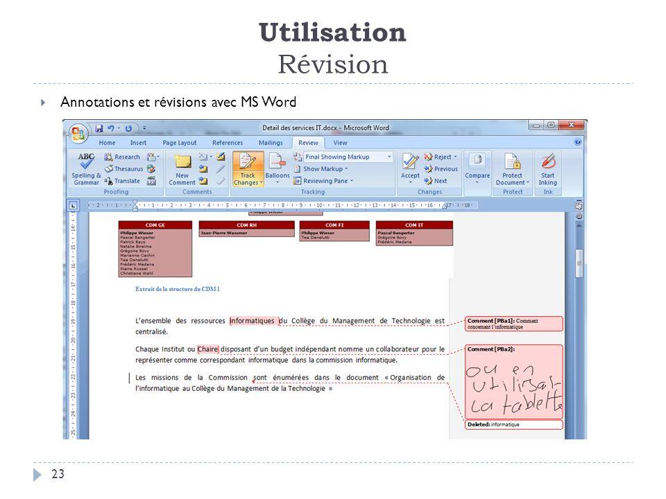 Utilisation Révision 23 Annotations et révisions avec MS Word