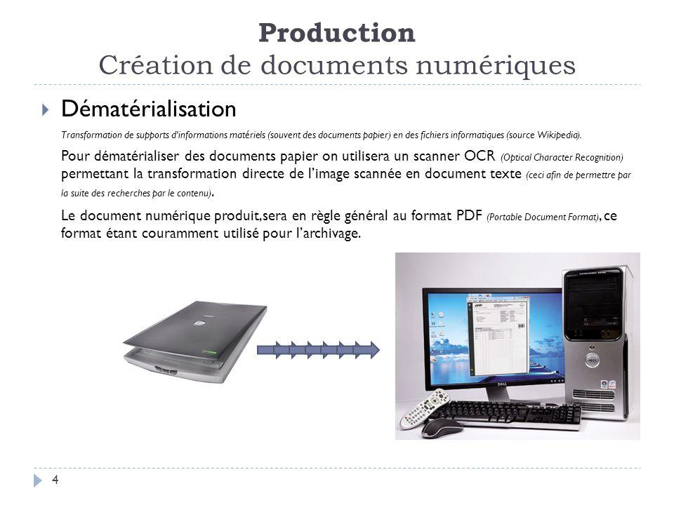 Production Création de documents numériques 4 Dématérialisation Transformation de supports d informations matériels (souvent des documents papier) en des fichiers informatiques (source Wikipedia).