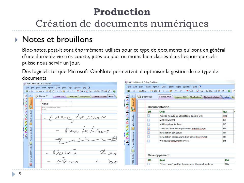 Production Création de documents numériques 5 Notes et brouillons Bloc-notes, post-It sont énormément utilisés pour ce type de documents qui sont en général dune durée de vie très courte, jetés ou plus ou moins bien classés dans lespoir que cela puisse nous servir un jour.