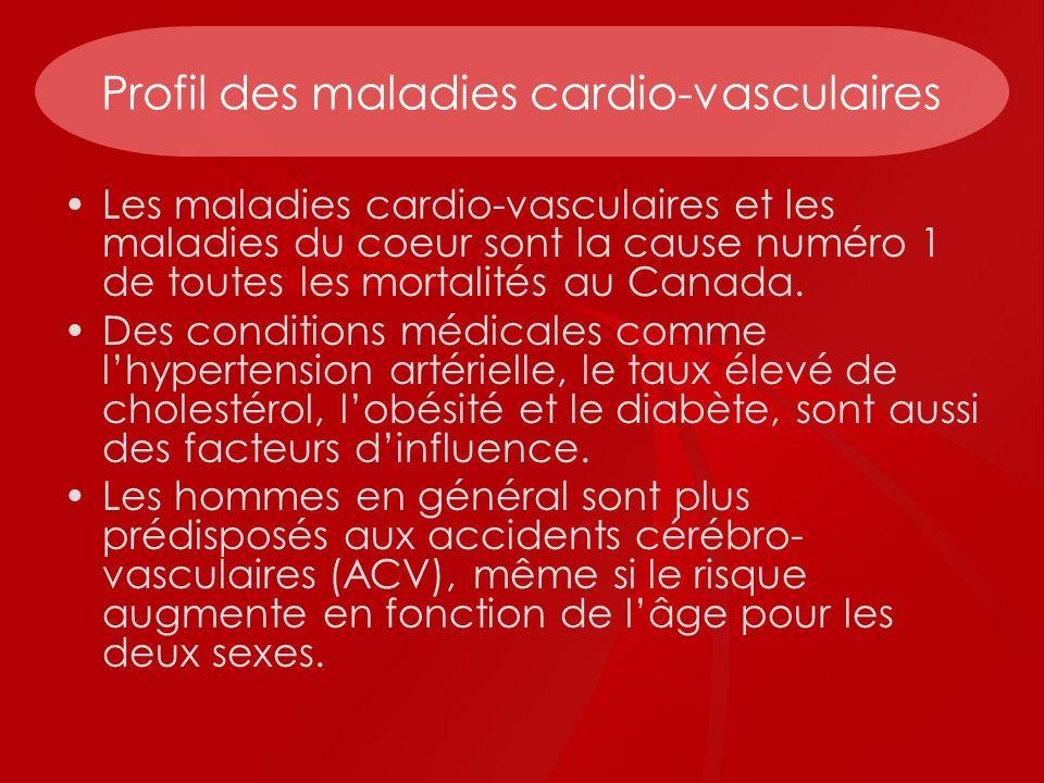 Profil des maladies cardio-vasculaires Les maladies cardio-vasculaires et les maladies du coeur sont la cause numéro 1 de toutes les mortalités au Can