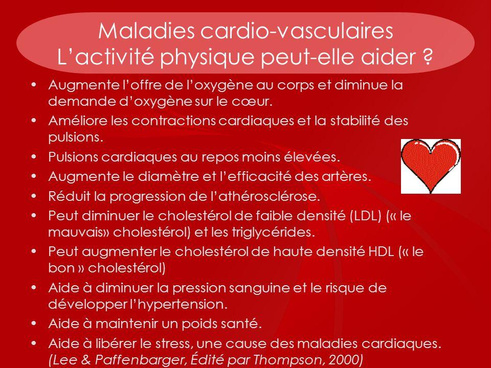 Maladies cardio-vasculaires Lactivité physique peut-elle aider ? Augmente loffre de loxygène au corps et diminue la demande doxygène sur le cœur. Amél