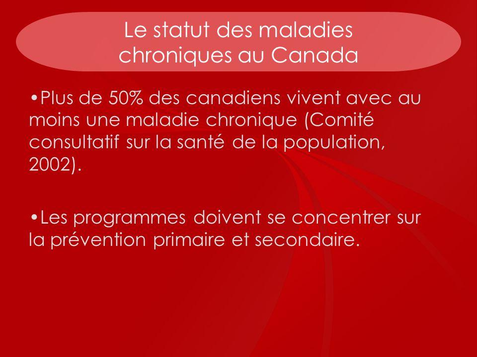 Le statut des maladies chroniques au Canada Plus de 50% des canadiens vivent avec au moins une maladie chronique (Comité consultatif sur la santé de l