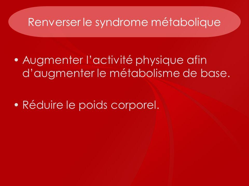 Renverser le syndrome métabolique Augmenter lactivité physique afin daugmenter le métabolisme de base. Réduire le poids corporel.