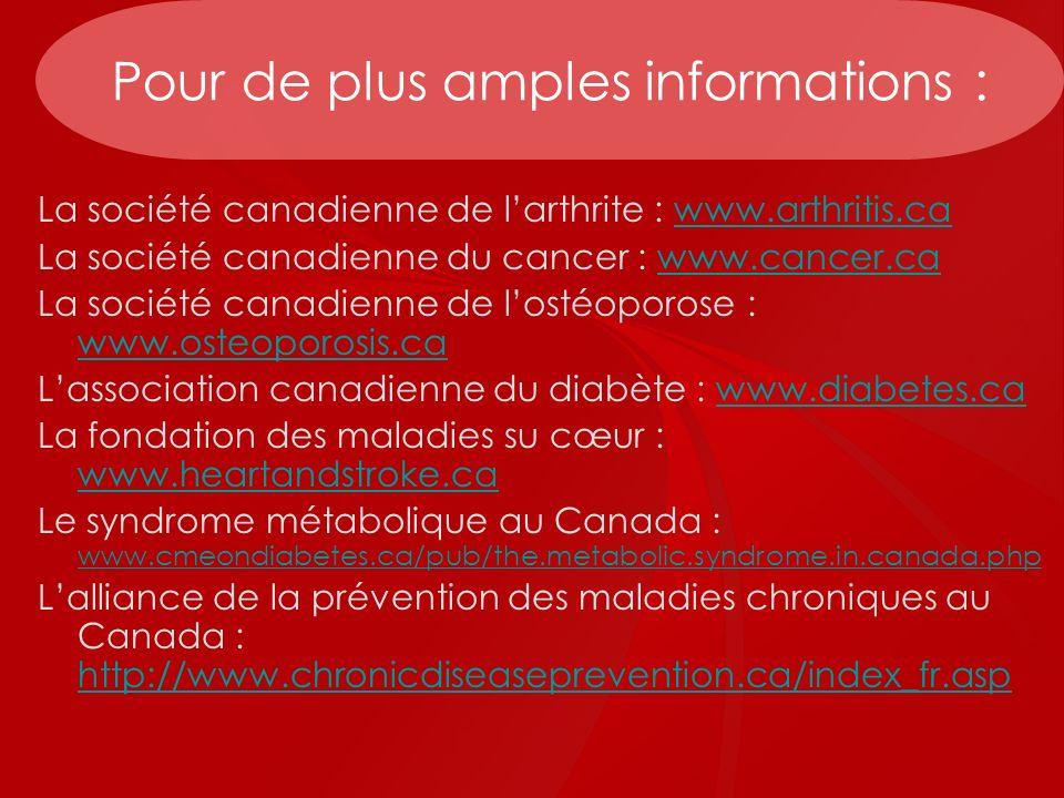Pour de plus amples informations : La société canadienne de larthrite : www.arthritis.cawww.arthritis.ca La société canadienne du cancer : www.cancer.