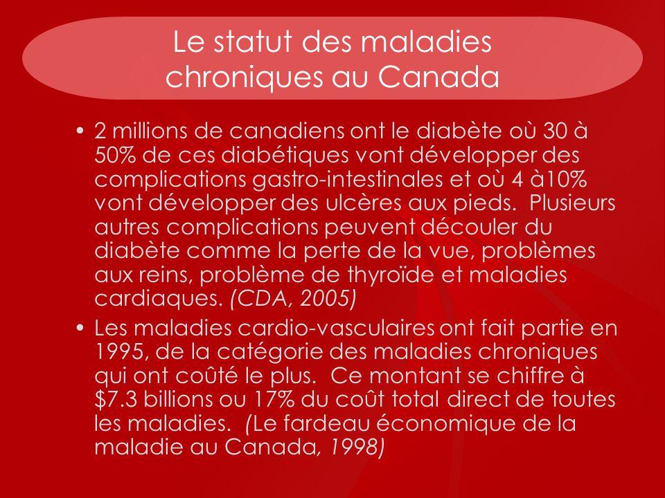 Le statut des maladies chroniques au Canada 2 millions de canadiens ont le diabète où 30 à 50% de ces diabétiques vont développer des complications ga