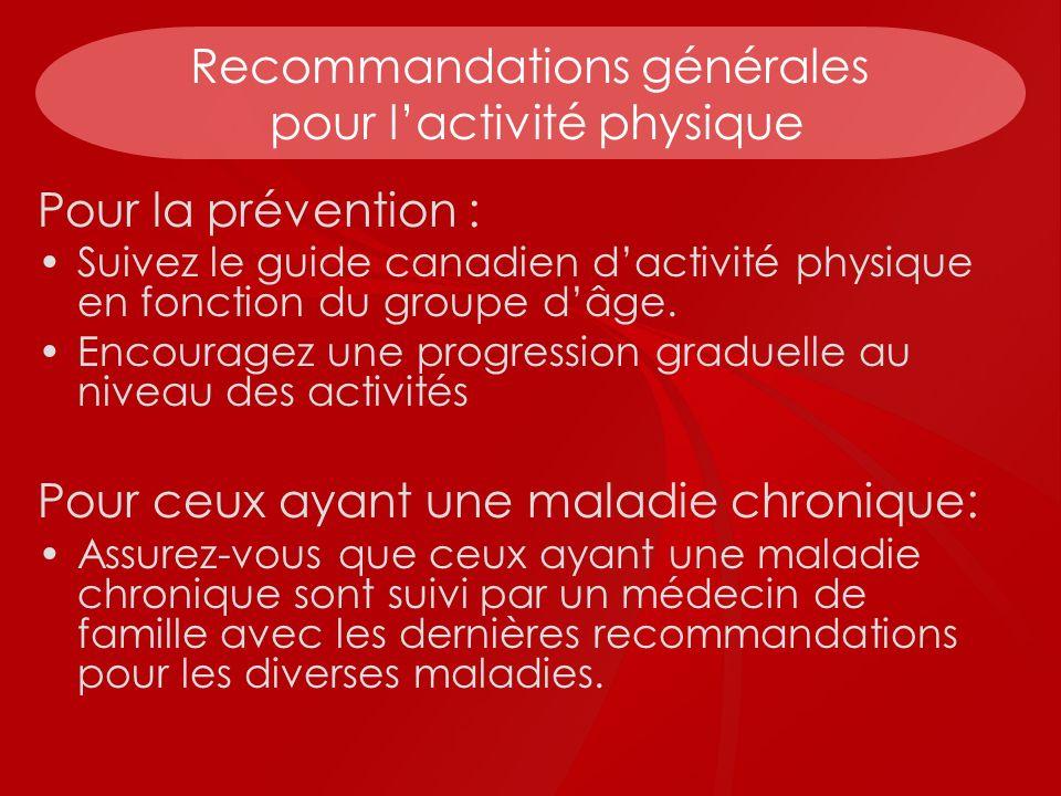 Recommandations générales pour lactivité physique Pour la prévention : Suivez le guide canadien dactivité physique en fonction du groupe dâge. Encoura