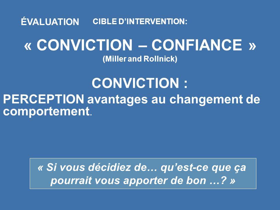 CIBLE DINTERVENTION: « CONVICTION – CONFIANCE » (Miller and Rollnick) ÉVALUATION CONVICTION : PERCEPTION avantages au changement de comportement. « Si