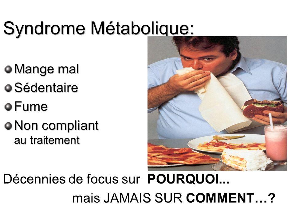 Syndrome Métabolique: Mange mal SédentaireFume Non compliant au traitement Décennies de focus sur POURQUOI... mais JAMAIS SUR COMMENT…?