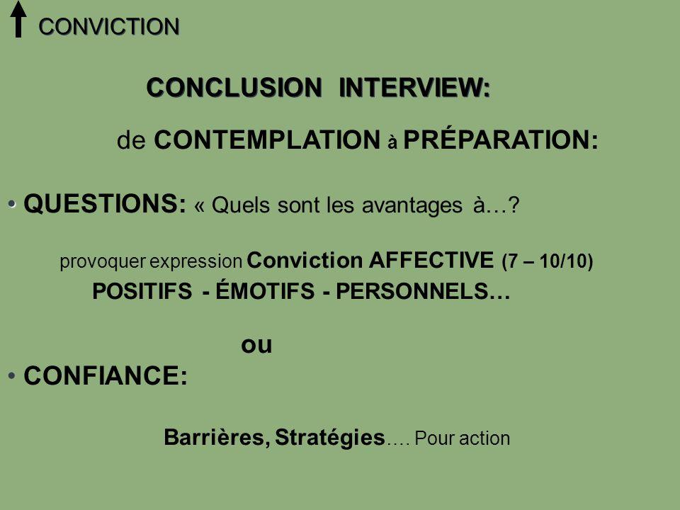 de CONTEMPLATION à PRÉPARATION: QUESTIONS: « Quels sont les avantages à…? provoquer expression Conviction AFFECTIVE (7 – 10/10) POSITIFS - ÉMOTIFS - P