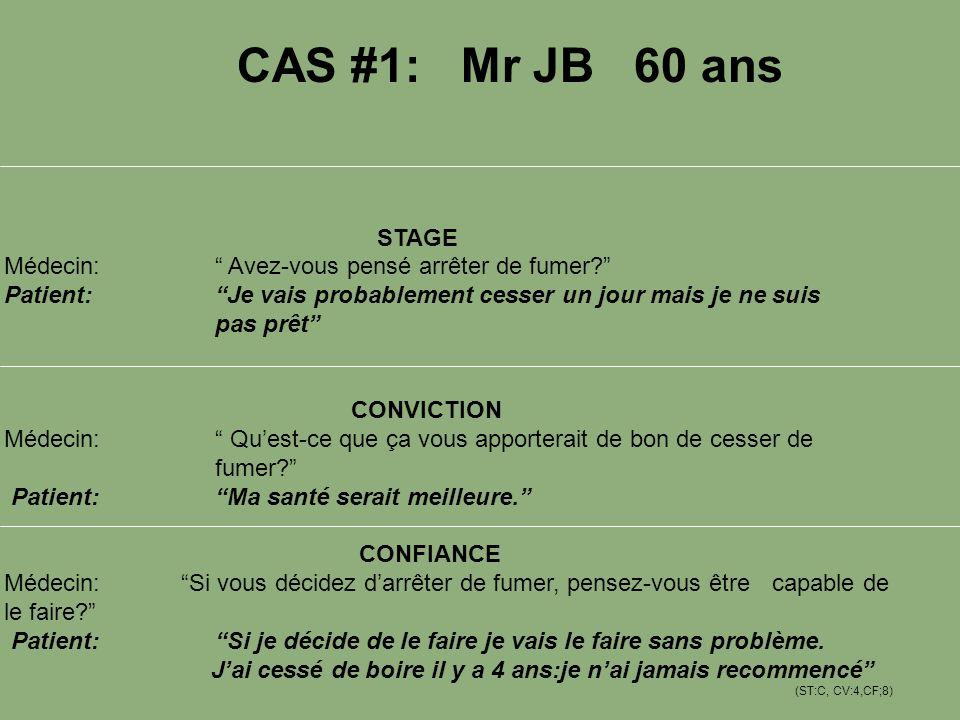 CAS #1: Mr JB 60 ans STAGE Médecin: Avez-vous pensé arrêter de fumer? Patient: Je vais probablement cesser un jour mais je ne suis pas prêt CONVICTION