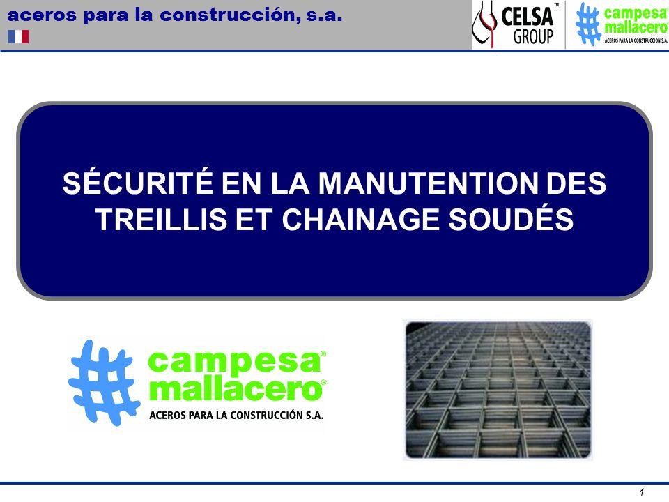 aceros para la construcción, s.a. 1 SÉCURITÉ EN LA MANUTENTION DES TREILLIS ET CHAINAGE SOUDÉS