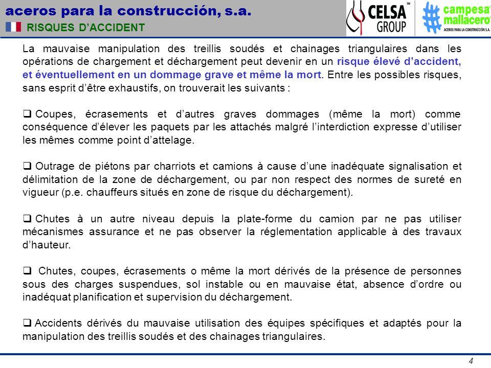 aceros para la construcción, s.a. 4 RISQUES DACCIDENT La mauvaise manipulation des treillis soudés et chainages triangulaires dans les opérations de c