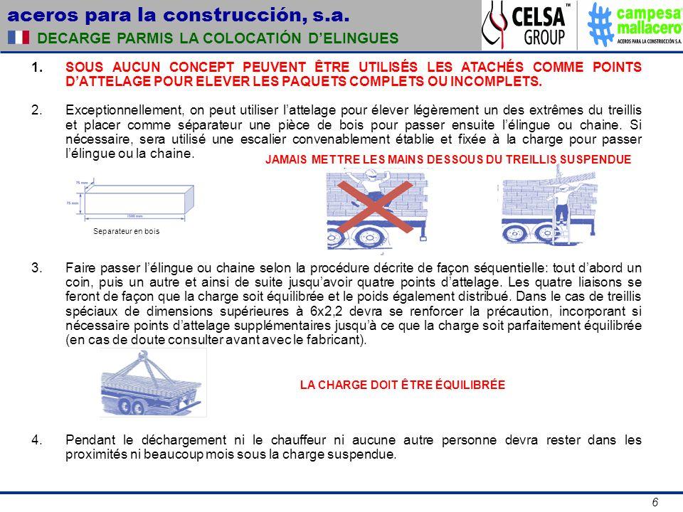 aceros para la construcción, s.a. 6 DECARGE PARMIS LA COLOCATIÓN DELINGUES SOUS AUCUN CONCEPT PEUVENT ÊTRE UTILISÉS LES ATACHÉS COMME POINTS DATTELAGE