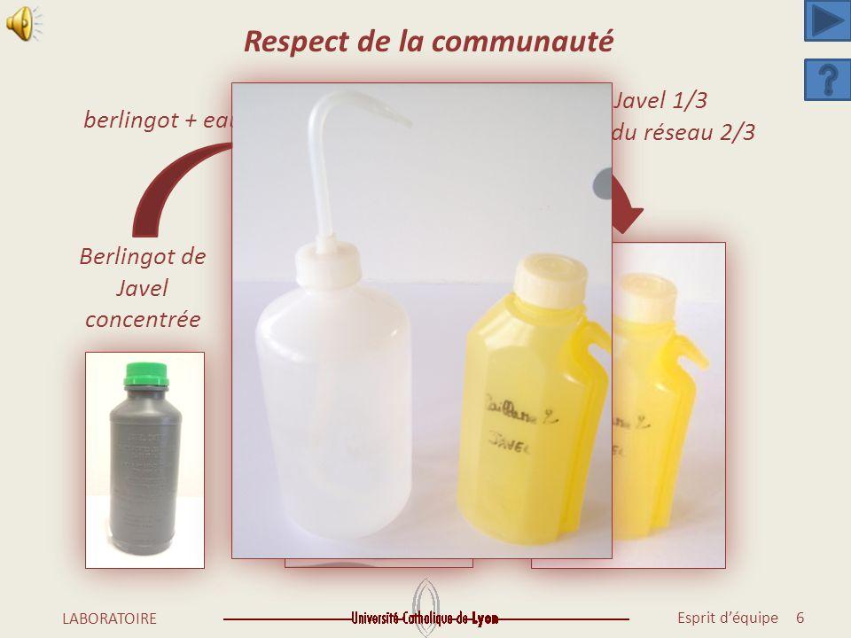 Esprit déquipe 5 LABORATOIRE Respect de la communauté
