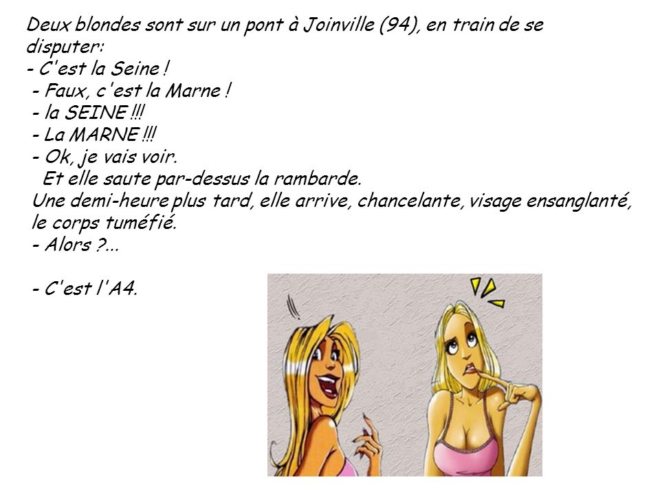 Deux blondes sont sur un pont à Joinville (94), en train de se disputer: - C'est la Seine ! - Faux, c'est la Marne ! - la SEINE !!! - La MARNE !!! - O