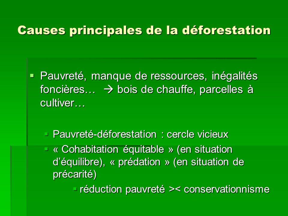 Causes principales de la déforestation Pauvreté, manque de ressources, inégalités foncières… bois de chauffe, parcelles à cultiver… Pauvreté, manque d