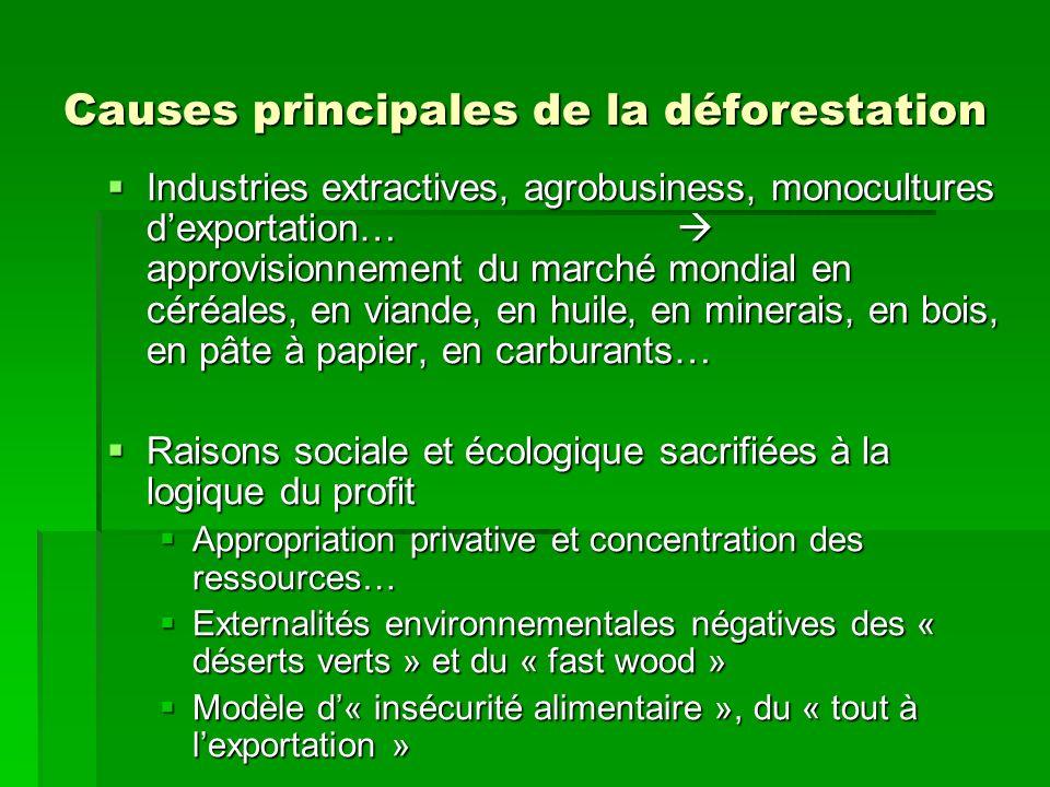 Causes principales de la déforestation Industries extractives, agrobusiness, monocultures dexportation… approvisionnement du marché mondial en céréale