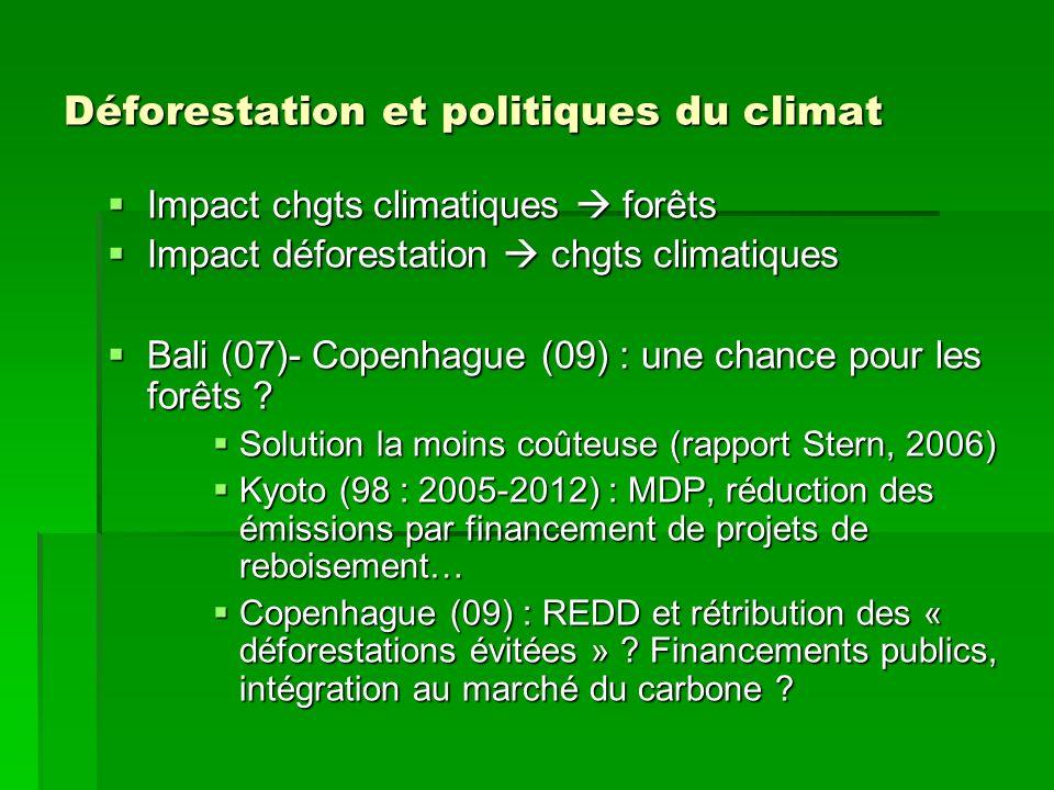 Déforestation et politiques du climat Impact chgts climatiques forêts Impact chgts climatiques forêts Impact déforestation chgts climatiques Impact dé
