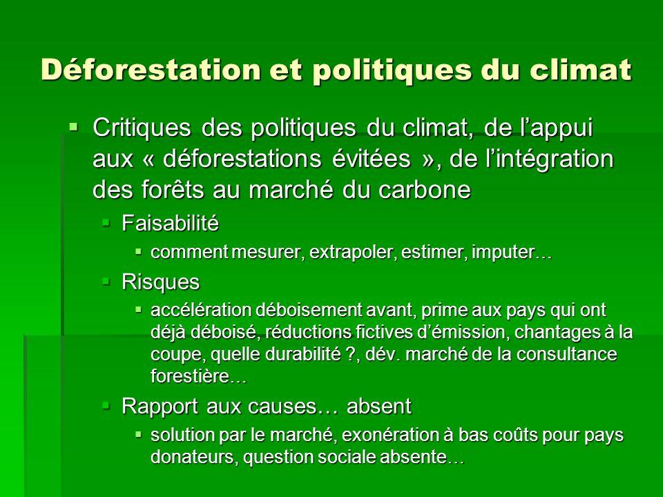 Déforestation et politiques du climat Critiques des politiques du climat, de lappui aux « déforestations évitées », de lintégration des forêts au marc