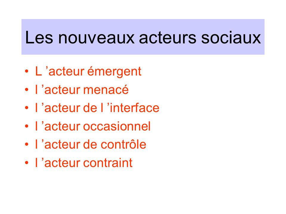 Les nouveaux acteurs sociaux L acteur émergent l acteur menacé l acteur de l interface l acteur occasionnel l acteur de contrôle l acteur contraint