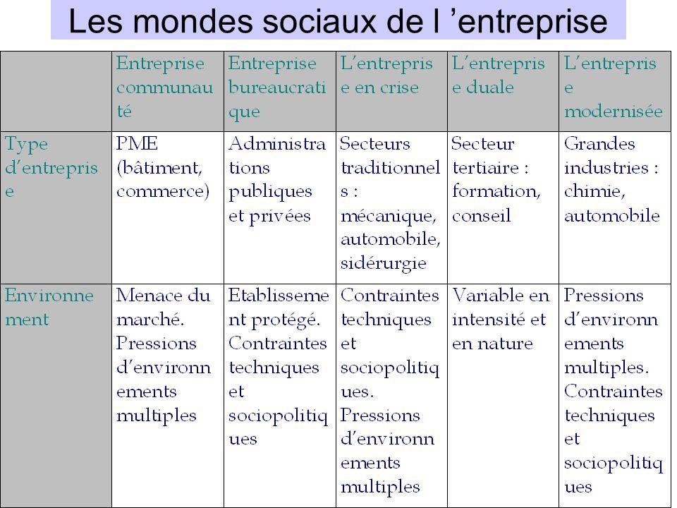 Les mondes sociaux de l entreprise