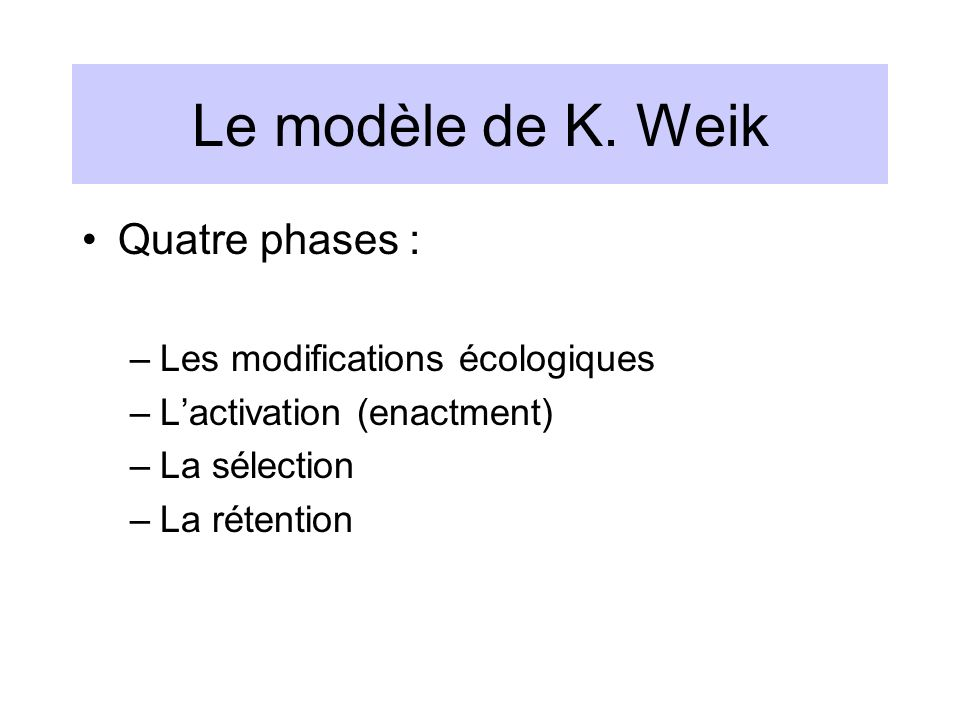 Le modèle de K. Weik Quatre phases : –Les modifications écologiques –Lactivation (enactment) –La sélection –La rétention