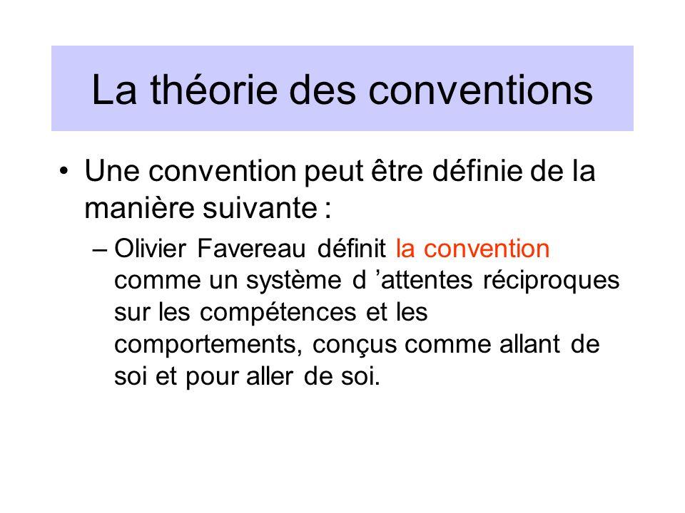 La théorie des conventions Une convention peut être définie de la manière suivante : –Olivier Favereau définit la convention comme un système d attent
