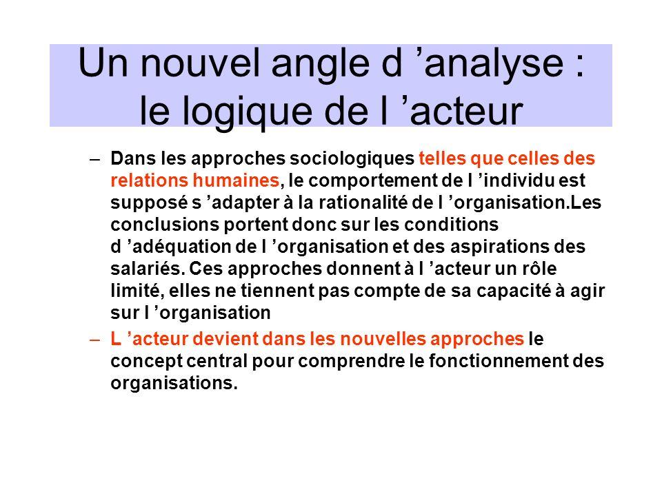 Un nouvel angle d analyse : le logique de l acteur –Dans les approches sociologiques telles que celles des relations humaines, le comportement de l in