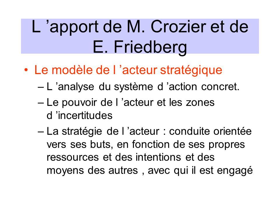L apport de M. Crozier et de E. Friedberg Le modèle de l acteur stratégique –L analyse du système d action concret. –Le pouvoir de l acteur et les zon