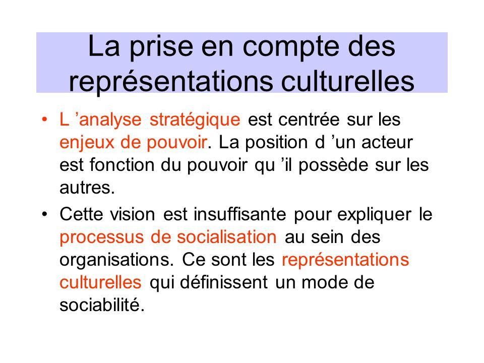 La prise en compte des représentations culturelles L analyse stratégique est centrée sur les enjeux de pouvoir. La position d un acteur est fonction d