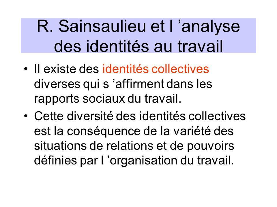 R. Sainsaulieu et l analyse des identités au travail Il existe des identités collectives diverses qui s affirment dans les rapports sociaux du travail