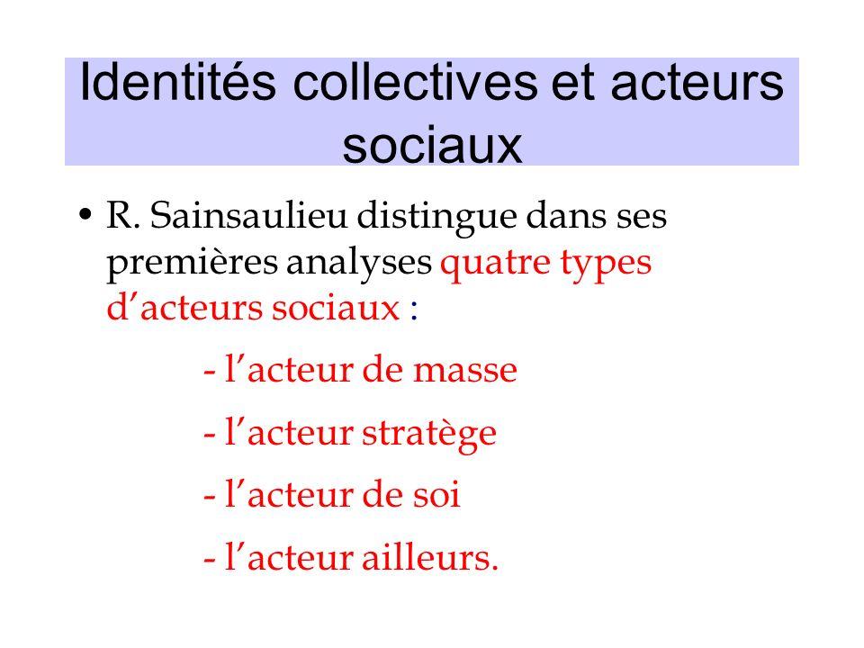 Identités collectives et acteurs sociaux R. Sainsaulieu distingue dans ses premières analyses quatre types dacteurs sociaux : -lacteur de masse -lacte