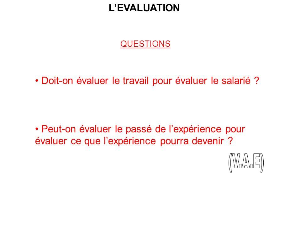 LEVALUATION QUESTIONS Doit-on évaluer le travail pour évaluer le salarié .