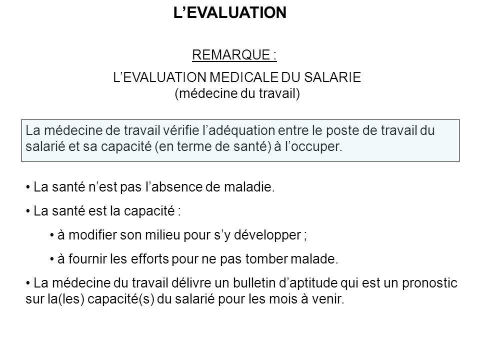 LEVALUATION REMARQUE : LEVALUATION MEDICALE DU SALARIE (médecine du travail) La médecine de travail vérifie ladéquation entre le poste de travail du salarié et sa capacité (en terme de santé) à loccuper.
